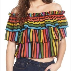 Wayf Toulan Tiered Ruffle Crop Top Size Small